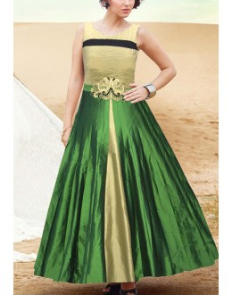 Fancy Cream & Green Silk Gown - Prestige63FA367-005