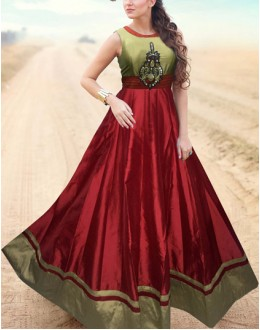 Traditional Cream & Maroon Gown - Prestige63FA367-009