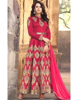 Party Wear Pink Banarasi Silk Salwar Suit - Mirage1575