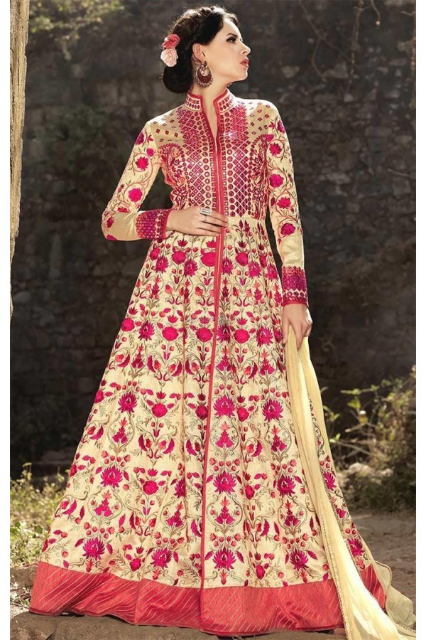 Wedding Wear Cream Pink Banarasi Silk Salwar Suit - Mirage1576