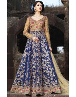 Festival Wear Blue Banarasi Silk Salwar Suit - Mirage1577