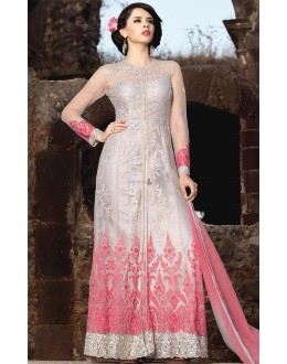 Ethnic Wear Silver Light Pink Banarasi Silk Salwar Suit - Mirage1580