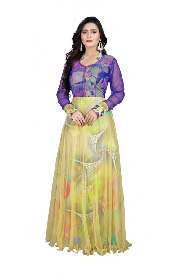 Party Wear Blue & Yellow Gown - MIRZA2015