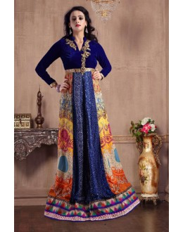 Party Wear Blue Pure Silk Gown - MISTHI01