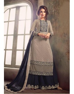 Ethnic Wear Light Grey Georgette Palazzo Suit - Mohini 31001LightGrey