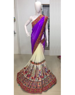 Georgette Purple & Cream  Saree  - MorniPurple