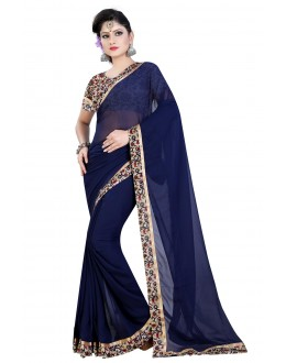 Festival Wear Dark Blue Georgette Saree  - MyraDarkBlue