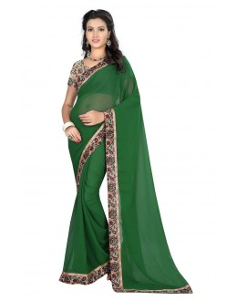 Ethnic Wear Green Georgette Saree  - MyraGreen