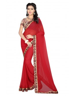 Party Wear Red Georgette Saree  - MyraRed