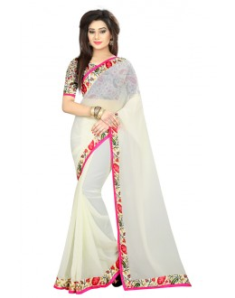 Party Wear White Georgette Saree  - MyraWhite