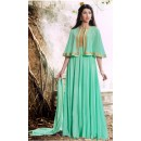 Party Wear Light Green Georgette Cape Anarkali Suit - 1023 A