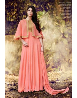 Festival Wear Peach Georgette Cape Anarkali Suit - 1023 B