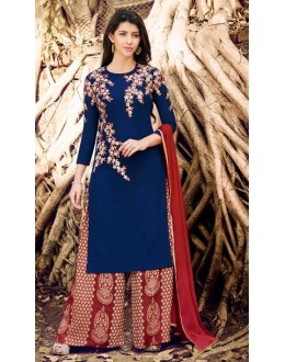 Ethnic Wear Blue Georgette Palazzo Suit - 1025 B