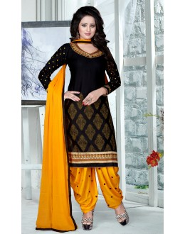 Festival Wear Black & Yellow Pure Cotton Patiyala Suit  - Natasha09