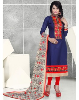 Ethnic Wear Blue & Red Pure Cotton Salwar Suit  - Natasha1010