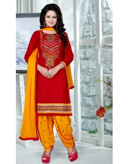 Ethnic Wear Red & Yellow Pure Cotton Patiyala Suit  - Natasha14