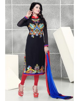 Festival Wear Black & Red Georgette Salwar Suit  - Natasha2600