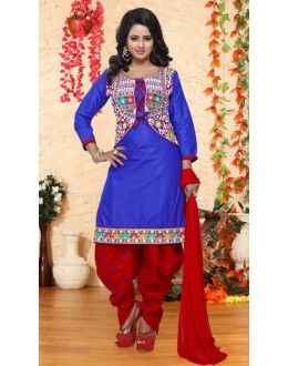 Festival Wear Blue & Red Pure Cotton Patiyala Suit  - Natasha2700