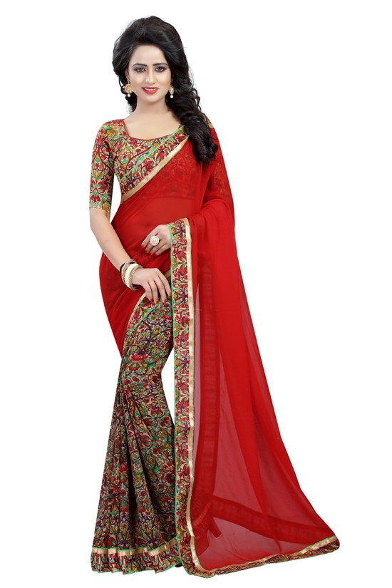 Casual Wear Red Georgette Saree  - OpoRed