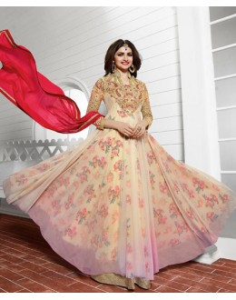Wedding Wear Beige & Red Anarkali Suit - PrachiColorV3938A