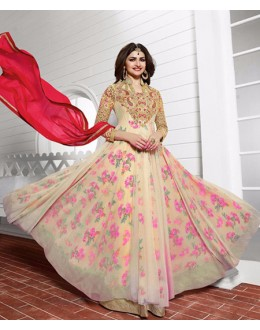 Party Wear Pink & Red Anarkali Suit - PrachiColorV3938