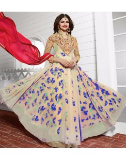 Party Wear Blue & Red Anarkali Suit - PrachiColorV393C