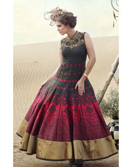 Fancy Black & Red Pure Bhagalpuri Gown - Prestige1016