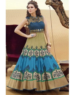 Fancy Multicolour Pure Bhagalpuri Gown - Prestige1019