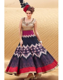 Fancy Multicolour Pure Bhagalpuri Gown - Prestige1020