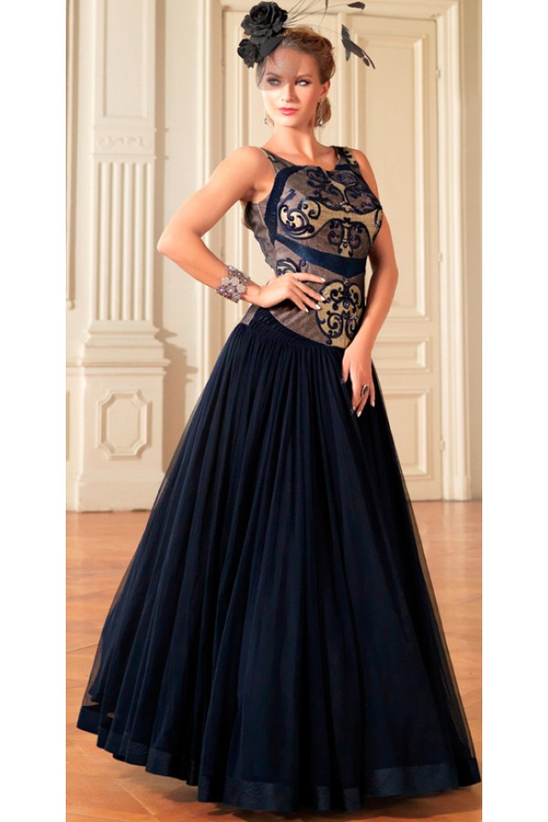 Fancy Blue & Cream Net Gown - Prestige1021