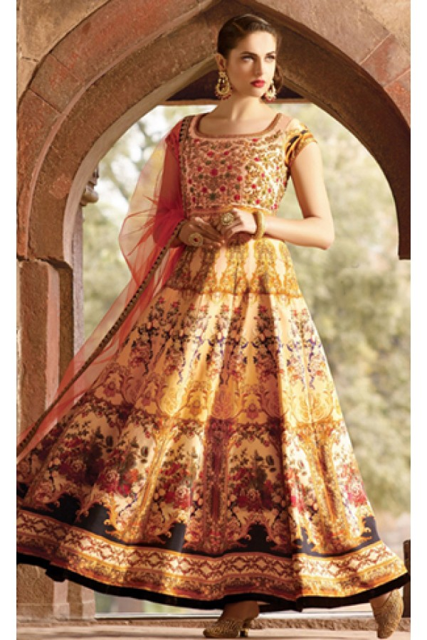 Party Wear Cream Pure Bhagalpuri Gown - Prestige1023