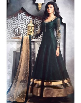 Party Wear Green Pure Bhagalpuri Gown - Prestige1024