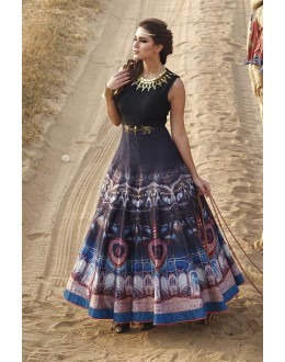 Eid Special Black  Raw Silk Designer Anarkali Suit - 3JN2733