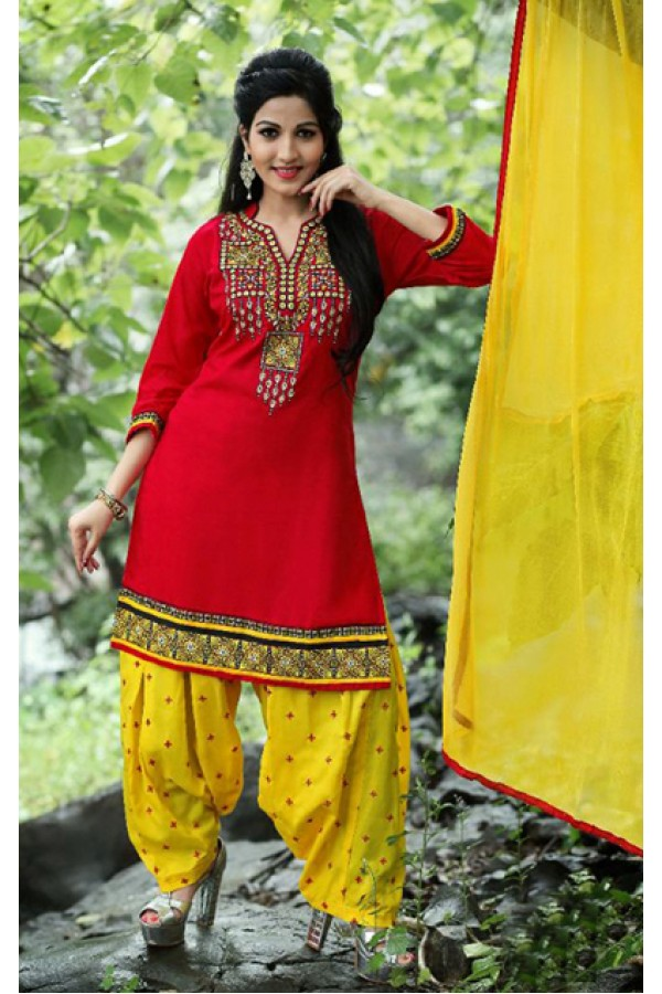 Ethnic Wear Red Cotton Patiyala Suit  - PunjabiKudi1004