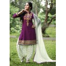 Party Wear Purple Cotton Patiyala Suit  - PunjabiKudi1007
