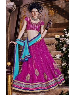 Festival Wear Pink Square Net Lehenga Choli - QUEEN4389-A