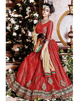 Designer Red Square Net Lehenga Choli - QUEEN4390-B
