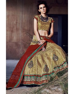 Festival Wear Golden Square Net Lehenga Choli - QUEEN4395-B