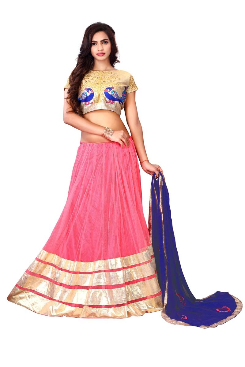 Festival Wear Pink & Golden Lehenga Choli - Ramzat7039