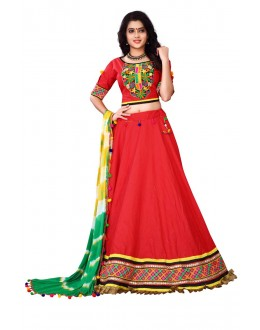 Festival Wear Red Cotton Lehenga Choli - Ramzat7045