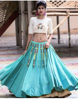 Fancy Blue & Cream Lehenga Choli- Ramzat7049