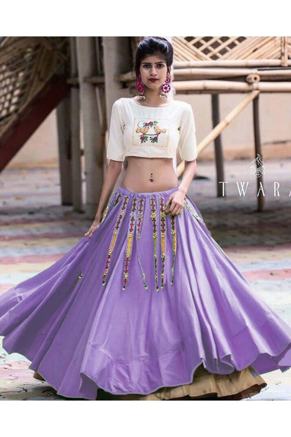 Designer Purple & Cream Lehenga Choli- Ramzat7050