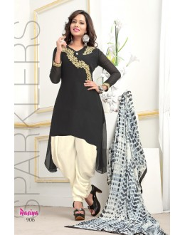 Readymade Black Georgette Patiyala Suit  - Rasiya906