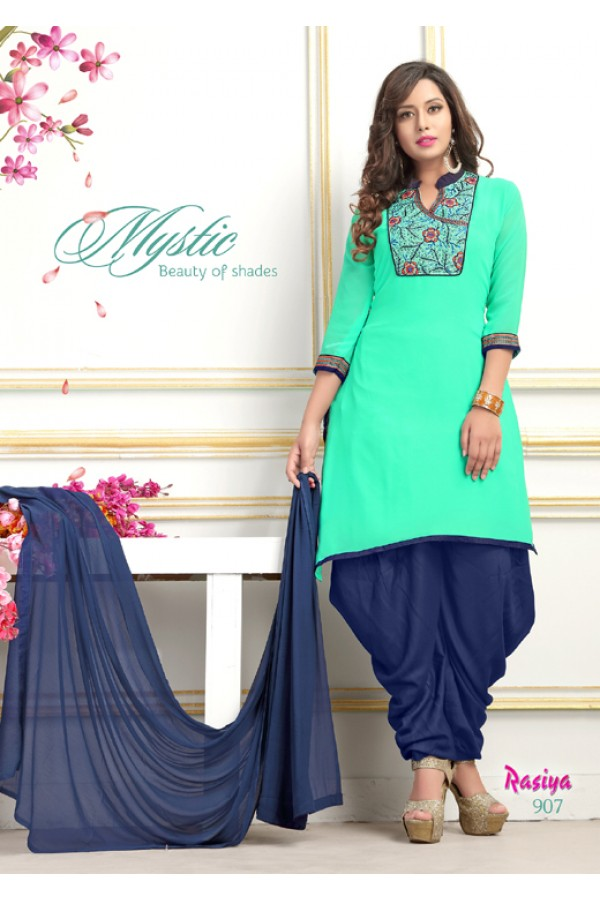 Office Wear Readymade Green Georgette Patiyala Suit  - Rasiya907
