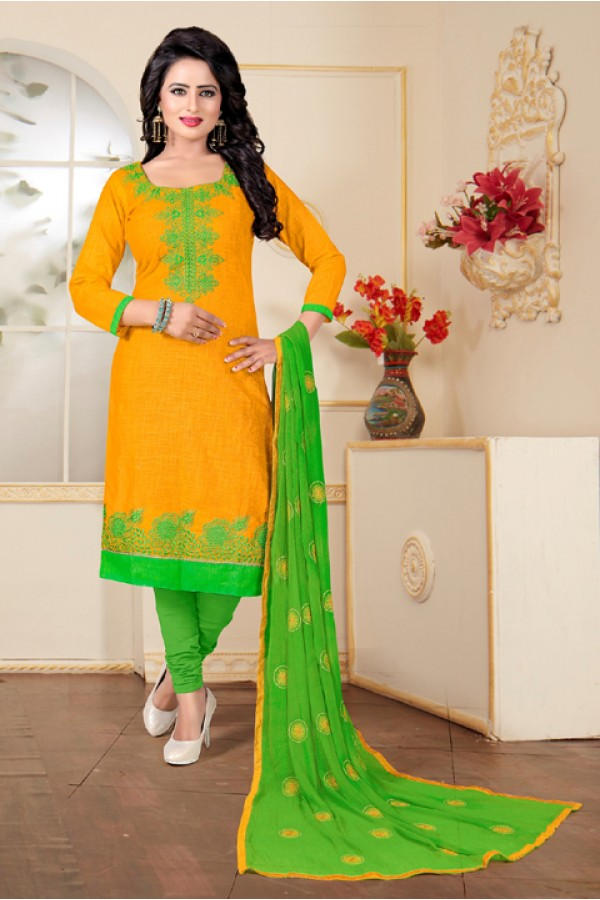 Ethnic Wear Yellow Cotton Slub Salwar Suit - Ritima8013
