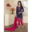 Party Wear Blue Cotton Slub Salwar Suit - Ritima8014