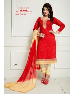 Ethnic Wear Red Chanderi Salwar Suit  - Ritima2003