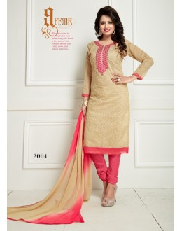 Office Wear Beige Chanderi Salwar Suit  - Ritima2004