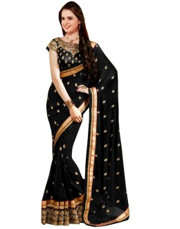 Ethnic Wear Black Georgette Saree  - RoshniABC- Black