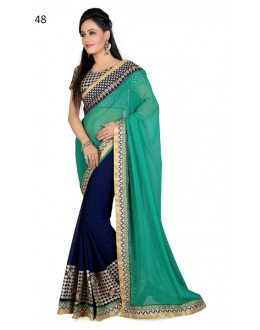 Ethnic Wear Green & Blue Georgette Saree  - RoshniK48